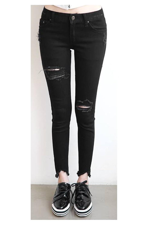 (ナンニング9)Naning9 スキニーデニム パンツ ビンテージ クラッシュ 黒 : 服&ファッション小物通販 | Amazon.co.jp