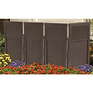 Outdoor patio resin panel screen privacy enclosure trash for Plastic garden screening panels