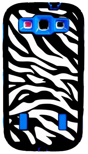 Mylife (Tm) Dark Black And Sky Blue - Zebra Stripes Armor Series (3 Piece Neo Hybrid Flexi Case + Urban Body Armor Glove) Case For Samsung Galaxy S3 Gt-I9300 And Gt-I9305 Touch Phone (Thick Silicone Outer Gel + Tough Rubberized Internal Shell + Mylife (Tm