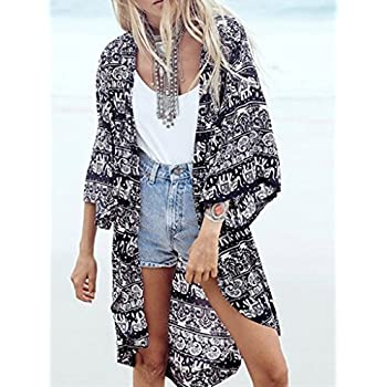 Persun Women Floral Chiffon Shawl Kimono Cover-up Jackets