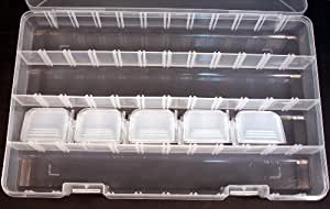 Clear Plastic Storage Organizer Case for Rainbow Loom and Rubber Bands -Adjustable Compartments!, No.CAD 124 (color may vary)