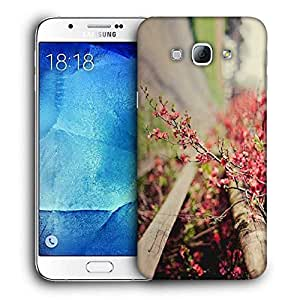 Snoogg Yellow Flower Printed Protective Phone Back Case Cover For Samsung Galaxy A8