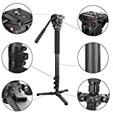 Kamisafe® KINGJOY Professional Carbon Fiber Camera Video Photo Tripod Monopod with Fluid Drag Head for Canon Nikon Sony DSLR Camcorder Shooting Filming