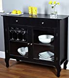 ELEGANT HOLIDAY BUFFET Wood Console Sideboard Table with Drawers and Storage, Black Finish