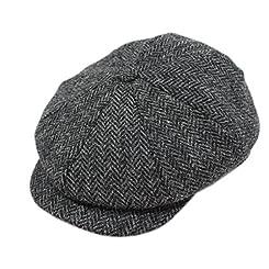 8 Piece Tweed Cap Charcoal Herringbone Hanly of Tipperary