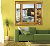 View of the Twelve Apostles, Australia. Window view wall decal.Australia, Victoria, The Great Ocean Road, Twelve Apostles. (White Frame)