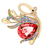 Nice Buckeye 18k Glod Plated Diamonds Accented Red Crystal Studded Lover Swans Shaped Womens Brooches