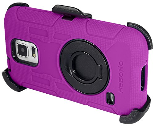 Rebono Samsung Galaxy S5 Rugged Shockproof Defender Case With Rotating Belt Clip & Kickstand - Combo Deal (Purple)