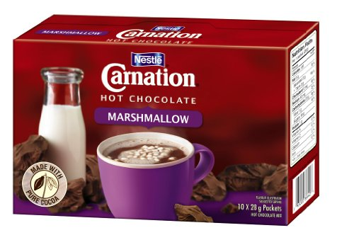 Carnation Hot Chocolate with Marshmallows, 10-Count Box, 28g Envelopes