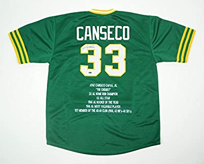 Jose Canseco Autographed Oakland A's Green Custom Stats Jersey - Leaf COA