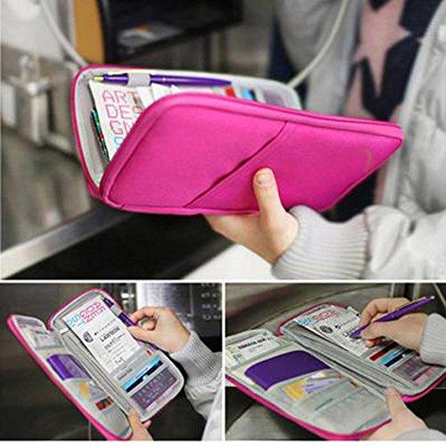 Vktech® Travel Wallet Passport Holder Document Organizer Card Bag (Rose-carmine)
