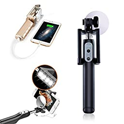 Selfie Stick with Built-in 3200 mah powerbank, Uniwit® Multi-function, Wired Control,3 Brightness LED Light, 270 Angle Rotation,Compatible with iPhone Samsung and other Devices - Black