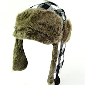 New Faux Fur Plaid Trooper Trapper Pilot Ski Hat Medium Large, White