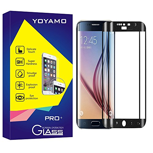 Samsung Galaxy S6 edge screen protector,Yoyamo Full Cover 0.2mm 9H Tempered Glass ,High Definition 3D Curved, Full 100% Coverage for Samsung Galaxy S6 edge (Black)