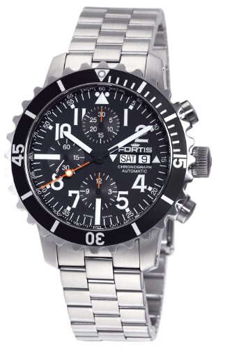 Fortis Men's 671.10.41M B-42 Marinemaster Automatic Chronograph Black Dial Watch