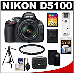 Nikon D5100 16.2 MP Digital SLR Camera & 18-55mm G VR DX AF-S Zoom Lens with 32GB Card + Case + Filter + Remote + Tripod + Cleaning & Accessory Kit