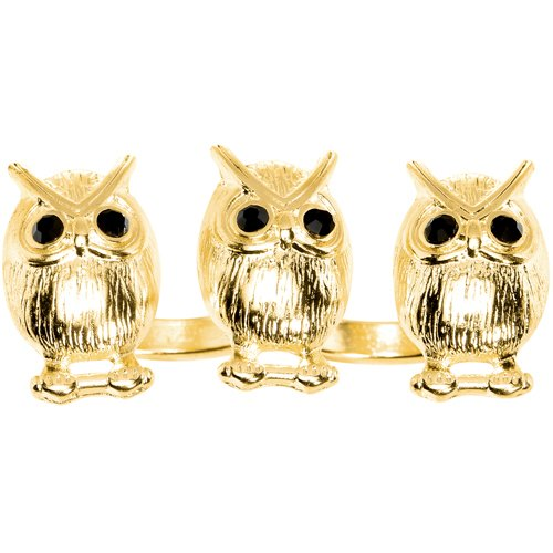 Size 7-8 Gold Tone Owl Trio Double Finger Ring
