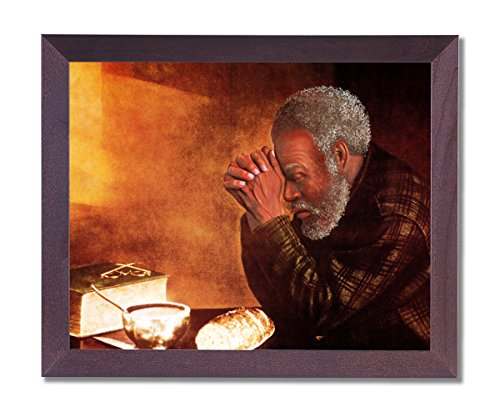 African American Black Man Praying At Dinner Table Daily Bread Religious Picture Framed Art Print (African American Pictures compare prices)