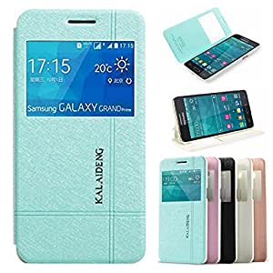 Galaxy Grand Prime Case - Demomm(tm) Iceland Series Folio Pu Leather Case Slim Cover for Galaxy Grand Prime G5308w (Blue)