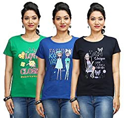 Flexicute Women's Printed Round Neck T-Shirt Combo Pack (Pack of 3)- Pakistan Green, Navy Blue & Royal Blue Color. Sizes : S-32, M-34, L-36, XL-38