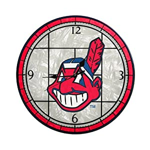 MLB Cleveland Indians 12-Inch Art Glass Clock by The Memory Company