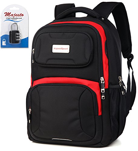 Laptop Backpack 15.6 Inch for Men and Women - Slim - Padded - Professional - Lightweight - Water Resistant - Ergonomic - With Bottle Holders - for Business and Padlock - Bundle - Black Red
