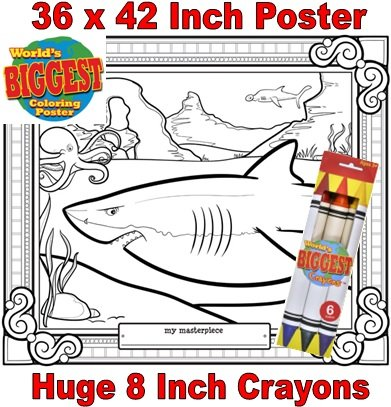 Just For Laughs World's Biggest Coloring Posters Combo- Shark - 1