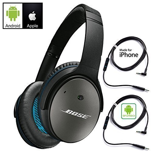 Bose QuietComfort 25 Acoustic Noise Cancelling Headphones for Android & Apple Devices - Black - Bundle