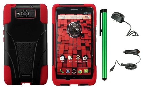 #!  Motorola DROID ULTRA MAXX XT1080M / Motorola Obake (Verizon) Accessory Combination - Premium Stand Protector Hard Cover Case + Travel (Wall) Charger & Car Charger + 1 of New Metal Stylus Touch Screen Pen (Red / Black)