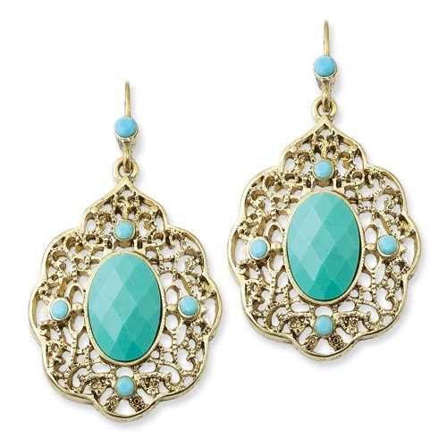 1928 Boutique Gold-tone Teal Crystal Dangle Earrings