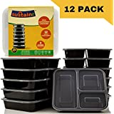 Sustainr Stackable Meal Prep Containers - 12 Secure Lids & Containers - 3 Compartment Leakproof Reusable Food Containers (36 Oz.) - [12 Pack]