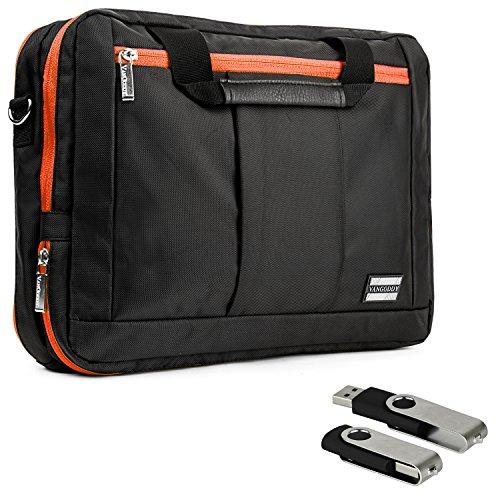 Vangoddy El Prado Sling - Black Orange Deluxe Pro Shoulder Messenger Carrying Bag For Apple Macbook Pro 13 Retina Display & Air 13 Inch+ 4 Gb Usb Memory Flash Drive front-673774