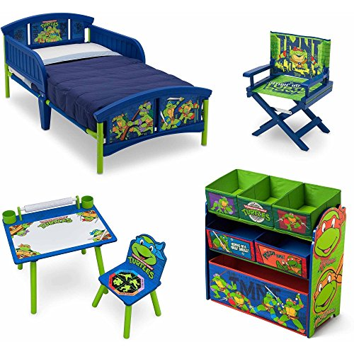 NEW! Nickelodeon Teenage Mutant Ninja Turtles/TMNT 5 Set Room-in-a-Box Toddler Bed with Safety Rails Multi-Bin Toy Organizer with Six Fabric Toy Box Table and Chair Art Desk Set, Plus Director's Chair (Ninja Turtle Barbie compare prices)
