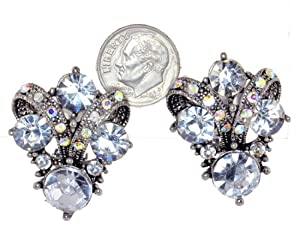 Vintage Austrian Crystal Clip-On Earrings - Clear