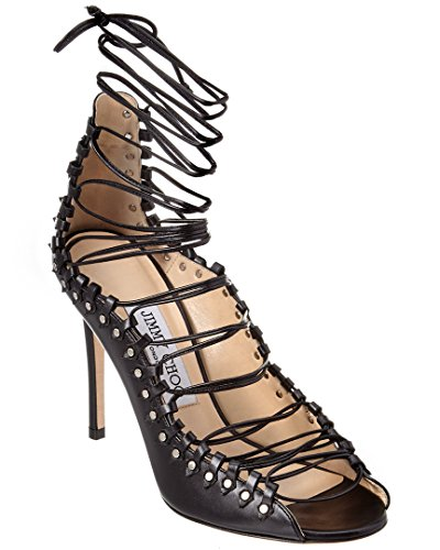 Jimmy Choo Koko 100 Leather Lace-Up Pump, 36.5, Black