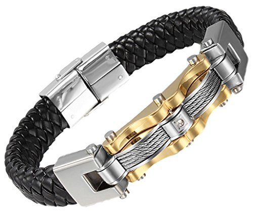 Men's Bracelet Stainless Steel Black Braided Leather Wire Chain Cuff Bangle 1.422.5cm by Aienid (White Nail Polish Essie compare prices)