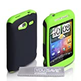 Dual Combo Hard And Soft Silicone Gel Case For The HTC Wildfire S Green / Black With Screen Protector Film And Grey Micro-Fibre Polishing Clothby Yousave
