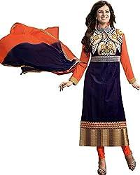 Ethnicbasket Womens Georgette Salwar Dress Material (9105B _Blue _Medium)