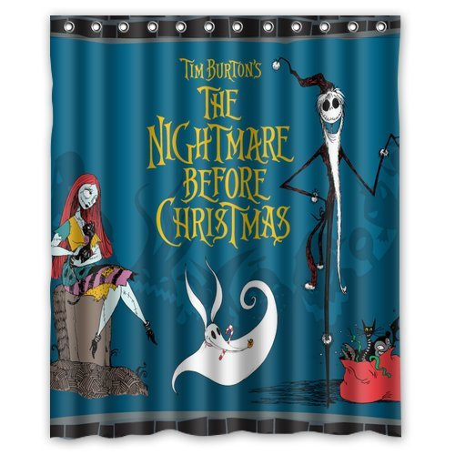 Custom Unique Design The Nightmare Before Christmas Skull Waterproof Fabric Shower Curtain, 72 By 60-Inch