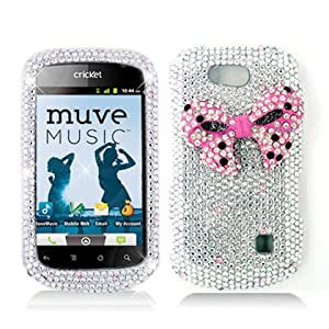 FOR ZTE GROOVE X501 3D FULL DIAMOND PROTECTOR COVER, BOW TIE, PINK