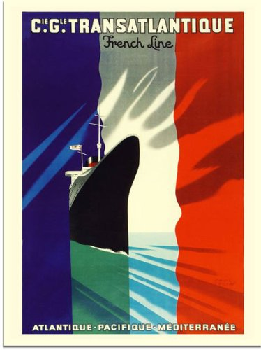 French Line, Crusie Travel Poster, Artist: Paul Colin, 1930s (30x40cm Art Print)