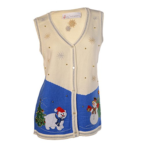 Jolly Sweaters Christmas Holiday Beige and Blue Sweater Vest