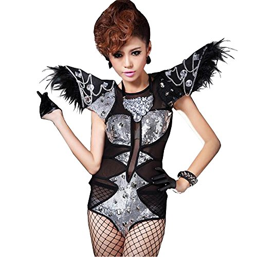 Sexy Lady Club Party DS Stage Bar See Through Dance Costumes Jumpsuit Clothes