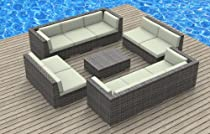 Hot Sale Urban Furnishing - BERMUDA 11pc Modern Outdoor Backyard Wicker Rattan Patio Furniture Sofa Sectional Couch Set - Beige