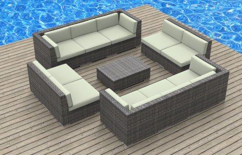 Urban Furnishing - BERMUDA 11pc Modern Outdoor Backyard Wicker Rattan Patio Furniture Sofa Sectional Couch Set - Beige image