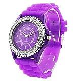 Fashionable Quartz Watch Purple Silicone Band Purple Dial Women's Watch