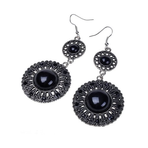 Beautiful Black Vintage Look Design Archaize Earring Long Dangle Drop Earrings