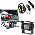 SunroadTek® Wireless CCD 18 LED Night Vision Back up Rear view Parking Kit Camera for Car Bus Truck RV + 7 Inch LCD Monitor