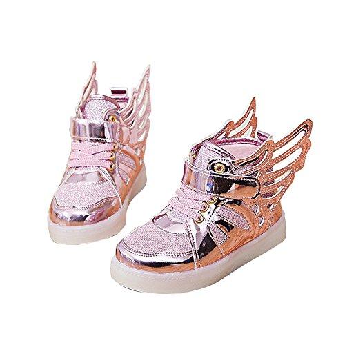 [Moollyfox Kids Flashing Sneakers Angel Wings LED Flat Shoes Rose Gold] (Light Up Angel Wings)