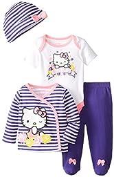 Hello Kitty Baby Girls\' 4 Piece Set, Multi, 3 Months